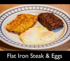 flat iron steak eggs